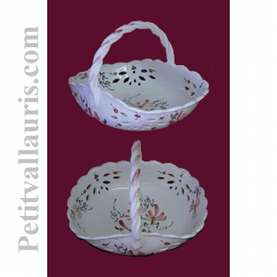 CERAMIC BASKET PINK FLOWERS DECORATION DIAMETER 30 CM