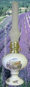 LAMPE BEC A PETROLE DECOR PAYSAGE PROVENCAL CHAMPS LAVANDE