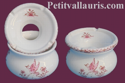 CENDRIER ANTI FUMEE EN FAIENCE PETIT MODELE TRADITION ROSE