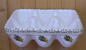 CERAMIC SUPPORT FOR EGGS (6) PROVENCAL MIMOSAS DECORATION