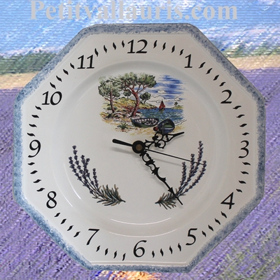 FAIENCE OCTAGONAL WALLCLOCK DECORATION SEASIDE AND LAVENDERS