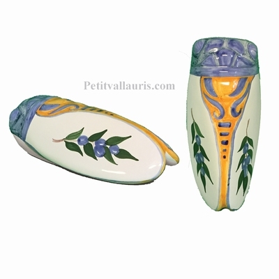 CIGALE FAIENCE-CERAMIQUE DECOR PROVENCAL OLIVES BLEUES (T3)