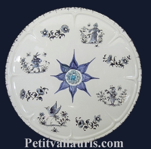 BELOW OF DISH ROSETTE Deco tradition Old Moustiers blue
