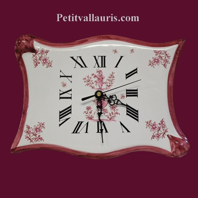 CLOCK PARCHMENT MODEL OLD PINK MOUSTIERS DECORATION