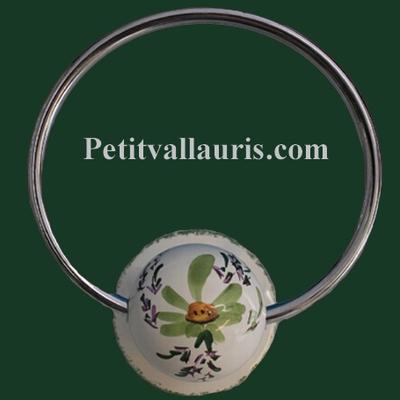 WALL TOWEL HOLDER FLOWERS GREEN DECOR (METAL RING)