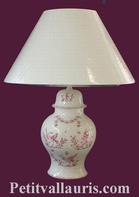 LAMPE FAIENCE MODELE CHINOIS DECOR TRADITION MOUSTIERS ROSE