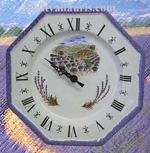 FAIENCE OCTAGONAL CLOCK  DECORATION LAVENDERS PICKING (CR)