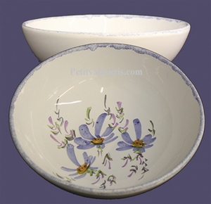 SOUP OR SALAD PLATE BLUE FLOWER PAINT DECORATION