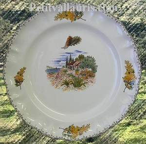 LOUIS XV MODEL PLATE OLIVE TREE,SEA AND COTTAGE DECORATION