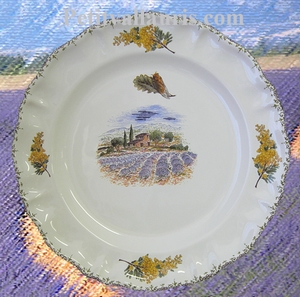 ASSIETTE MODELE LOUIS XV DECOR PROVENCAL CHAMPS DE LAVANDES