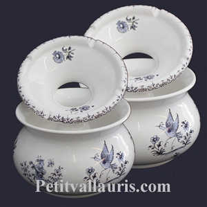 CENDRIER ANTI FUMEE EN FAIENCE GRAND MODELE TRADITION BLEU