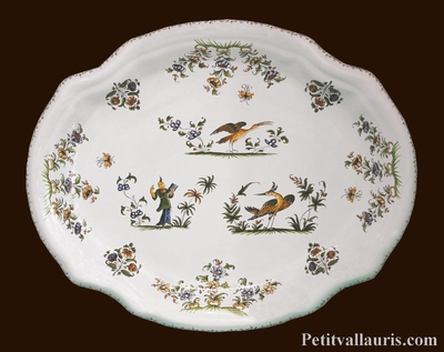 PLAT OVALE MODELE LOUIS XV CREUX DECOR TRADITION MOUSTIERS