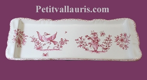 CAKE DISH OLD MOUSTIERS PINK TRADITION DECORATION
