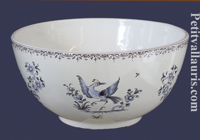 SALAD BOWL SMALL SIZE BLUE OLD MOUSTIER TRADITION DECORATION