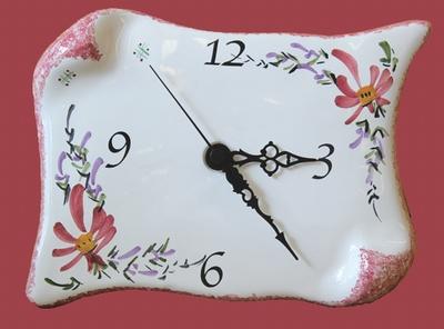 FAIENCE WALL CLOCK PARCHMENT LITTLE MODEL PINK FLOWERS DECOR