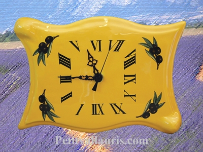 HORLOGE MODELE PARCHEMIN DECOR OLIVES ET COULEUR PROVENCALE