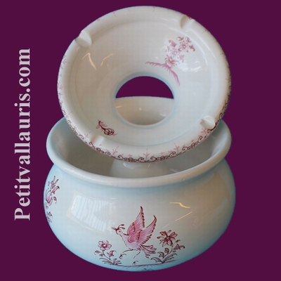 CENDRIER ANTI FUMEE EN FAIENCE GRAND MODELE TRADITION ROSE