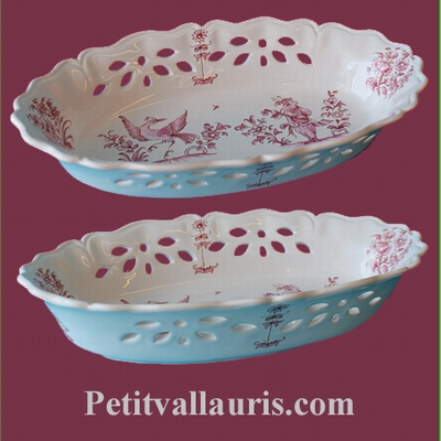 PERFORATE OVAL PANNIER OLD MOUSTIERS DECORATION PINK