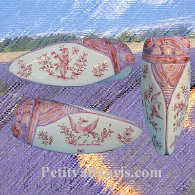 CIGALE FAIENCE-CERAMIQUE TRADITION MOUSTIERS ROSE TAILLE 4