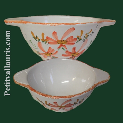 BOWL WITH HANDLES LIGHT RED FLOWERS DECORATION