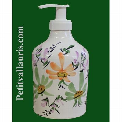 LIQUID SOAP DISPENSER GREEN AND ORANGE FLOWERS DECORATION