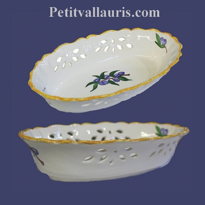 FAIENCE OVALE PERFORATE BASKET WHITE COLOR+ BLUE OLIVE