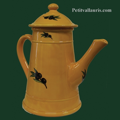 FAIENCE COFFEE POT PROVENCAL COLOR BLACK OLIVES DECOR
