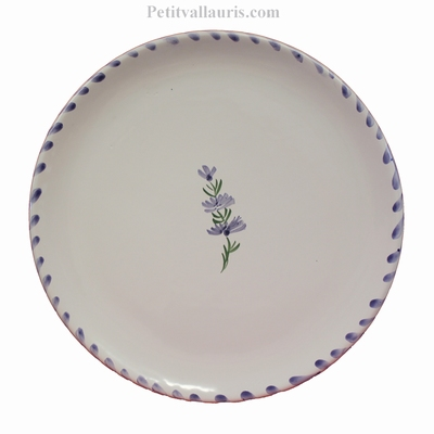 SIMPLE PLATE MODEL WHITE COLOR AND LAVANDER BRANCH DECOR