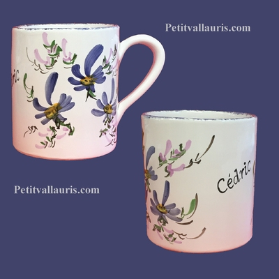 CERAMIC MUG WITH CUSTOMIZED NAME BLUE FLOWER COLOR