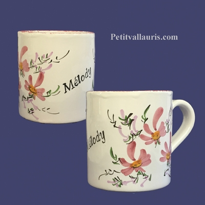 CERAMIC MUG WITH CUSTOMIZED NAME PINK FLOWER COLOR