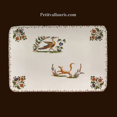 CERAMIC RECTANGLE DISH OLD MOUSTIERS TRADITION DECORATION