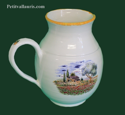 WATER JUG 1 LITER PROVENCE LANDSCAPE DECOR YELLOW BORDER