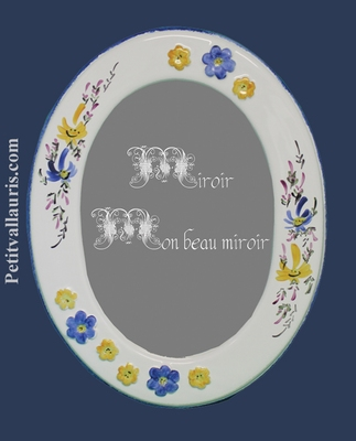 OVAL MIRROR BLUE AND YELLOW FLOWERS DECOR