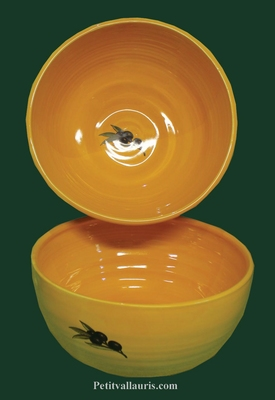 SALAD BOWL SMALL SIZE YELLOW BACKGROUND AND OLIVES DECOR