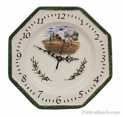 FAIENCE OCTAGONAL WALL CLOCK DECORATION POPPYS AND OLIVE