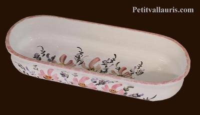 OVAL CERAMIC POT PENCILS BEIGE DECORATION FLOWERS