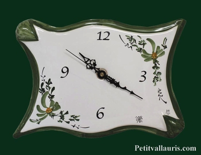 FAIENCE WALL CLOCK PARCHMENT MODEL GREEN FLOWERS PAINTING