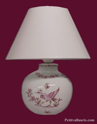 LAMPE RONDE POUR CHEVET DECOR REPRODUCTION MOUSTIERS ROSE