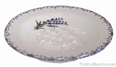 CERAMIC GRATTE + RAPE GARLIC ROUND LAVANDER BRANCH PATTERN