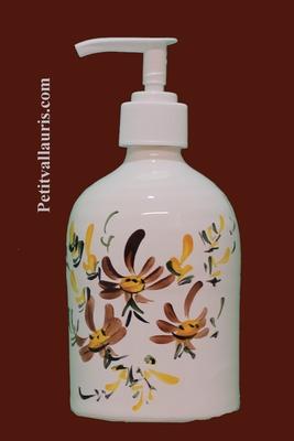 LIQUID SOAP DISPENSER BROWN FLOWER DECORATION