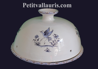 CERAMIC CHEESE-BELL WITH PLATE BLUE MOUSTIERS TRADITION