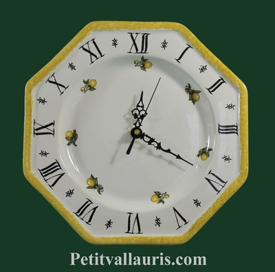 FAIENCE WALL CLOCK WITH DECORATION LEMON