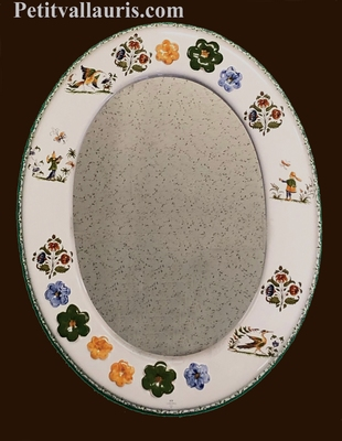 EARTHENWARE MIRROR OVAL FORM PINK TRADITION DECORATION