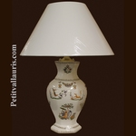 LAMPE FAIENCE HEXAGONALE DECOR TRADITION VIEUX MOUSTIER POLY