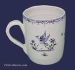 MUG LARGE SIZE OLD MOUSTIERS TRADITION DECORATION BLUE