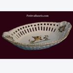 CORBEILLE OVALE DENTELLE DECOR TRADITION VIEUX MOUSTIERS