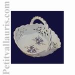 CERAMIC BASKET BLUE FLOWERS DECORATION DIAMETER 30 CM