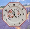 FAIENCE OCTAGONAL WALL CLOCK PINK FLOWER PAINT