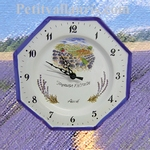 FAIENCE OCTAGONAL CLOCK  DECORATION LAVENDERS PICKING
