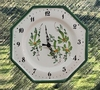 FAIENCE OCTAGONAL WALL CLOCK GREEN FLOWERS PAINT